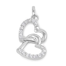 Sterling Silver Double Heart pendant CZ Love New d51 - $8.69