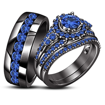 Blue Sapphire His Her Wedding Trio Ring Set 14k Black Finish 925 Sterlin... - $172.99