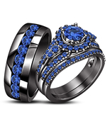 Blue Sapphire His Her Wedding Trio Ring Set 14k Black Finish 925 Sterlin... - £129.78 GBP