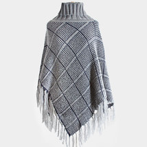 PLAID KNIT FRINGED TURTLE NECK PONCHO - £18.71 GBP