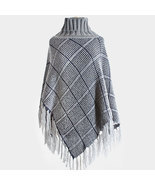PLAID KNIT FRINGED TURTLE NECK PONCHO - $24.99
