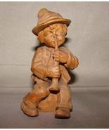 Vintage German Black Forest Wood Carved Boy With Horn Figure - $40.99
