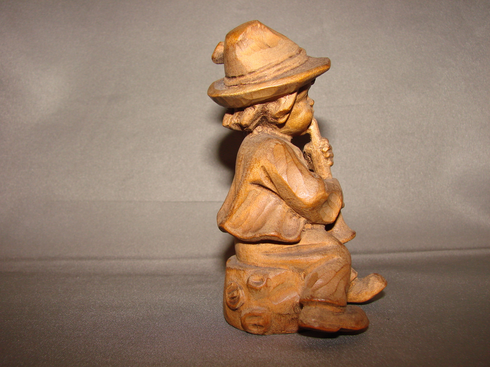 Vintage German Black Forest Wood Carved Boy With Horn Figure