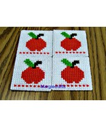 Apple Coasters, Plastic Canvas, Handmade, Cross Stitch, Square, Teacher ... - $15.00