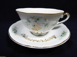 VTG Porcelain Lefton China 50th Anniversary Tea Cup & Saucer Set Hand pa... - $24.75