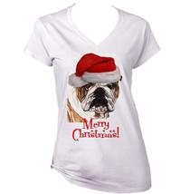 Merry Christmas British Bulldog 1   New White Cotton Lady Tshirt - $21.55