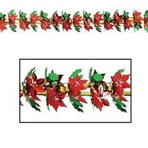 Poinsettia & Holly metallic Garland / Column Party Accessory 9 ft tall -... - $10.57