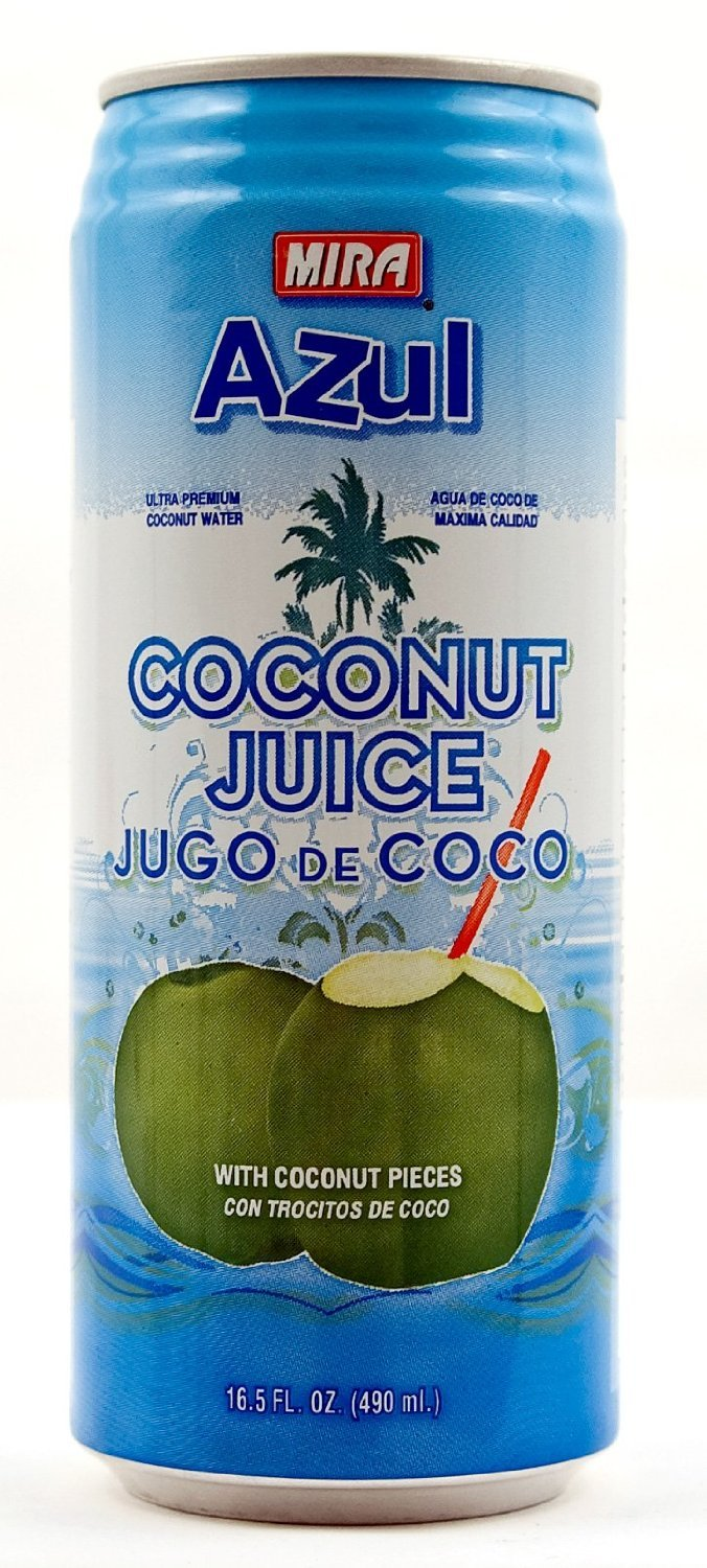 Mira 'Azul' Coconut Water with Pulp, 16.5 Ounce Cans (Case of 24)