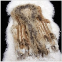 Genuine Natural Real Rabbit Fur Knitted Tassel Vest Fun Fashion Furs Winter Wear