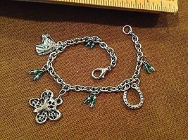 "7.5"" Silver Tone Good Luck Charms Bracelet Horse Shoe Butterfly Beads Ac... - $1.94"