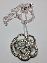 beautiful crystal rose pendant and chain-silver plated - $7.95