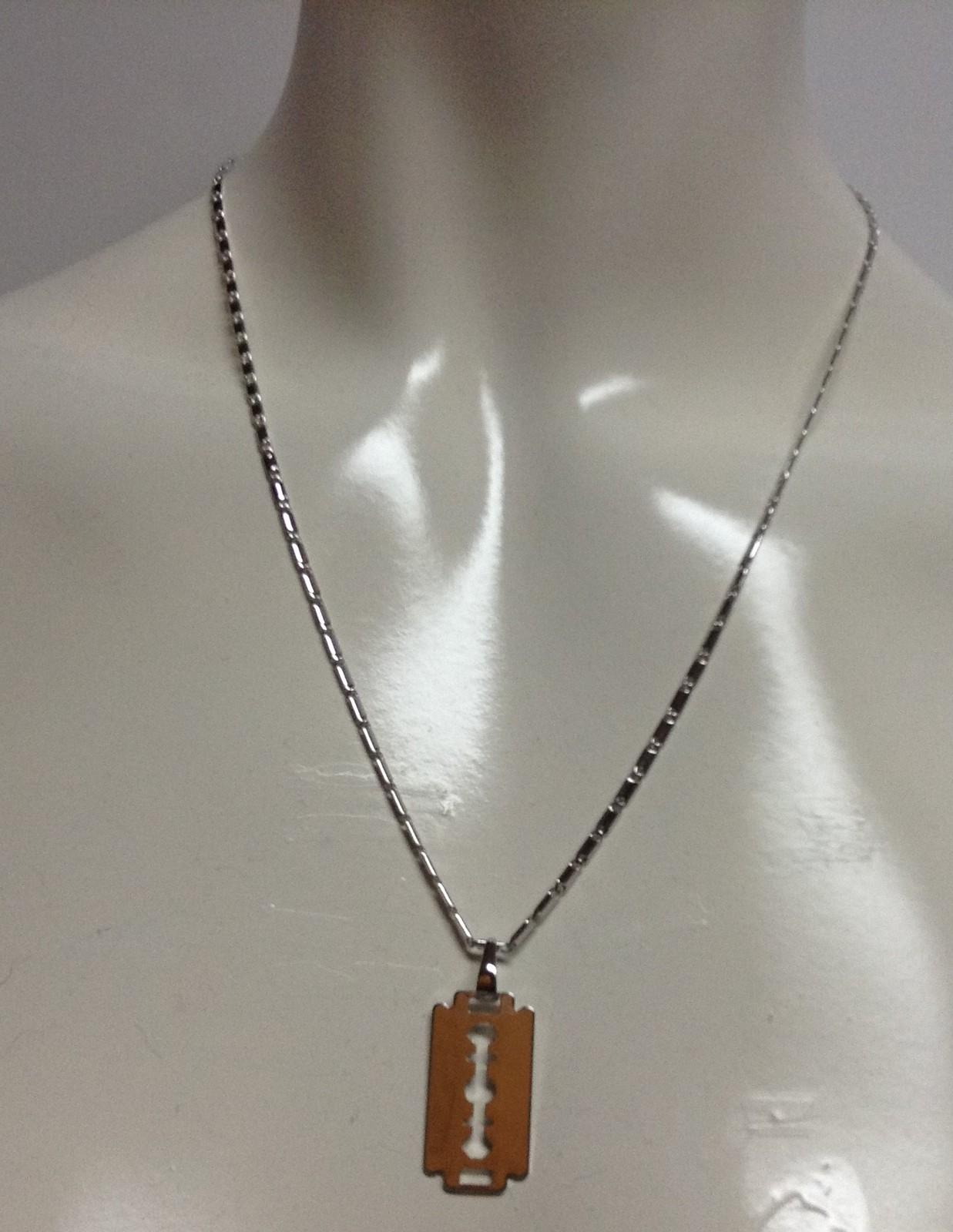 "Razor Blade Pendant 18"" Necklace 18K Platinum NWT Gold Gift Bag Included"