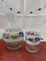 Vintage Flower Clear Glass Hand Painted Nightside Carafe and Tumbler Set image 2