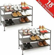 Wood Utility Shoe Footwear Rack Shelf Selves Organizer Folding 2 Packs S... - £64.58 GBP