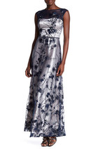 NWT $398 LM Collection Floral Mesh Formal Prom Gown - Navy Size 8