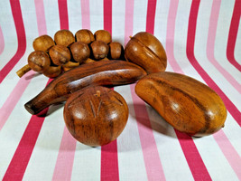 Awesome Mid century Modern 5pc Monkeypod Carved Wooden Fruit Decor Danis... - $16.00
