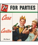 Vintage sign 7 UP For Parties king and queen kids 1950s cardboard unused... - $26.99