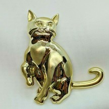 Vintage Estate Prissy Sitting Kitty Cat Brushed Accents Gold Tone Brooch... - $9.99