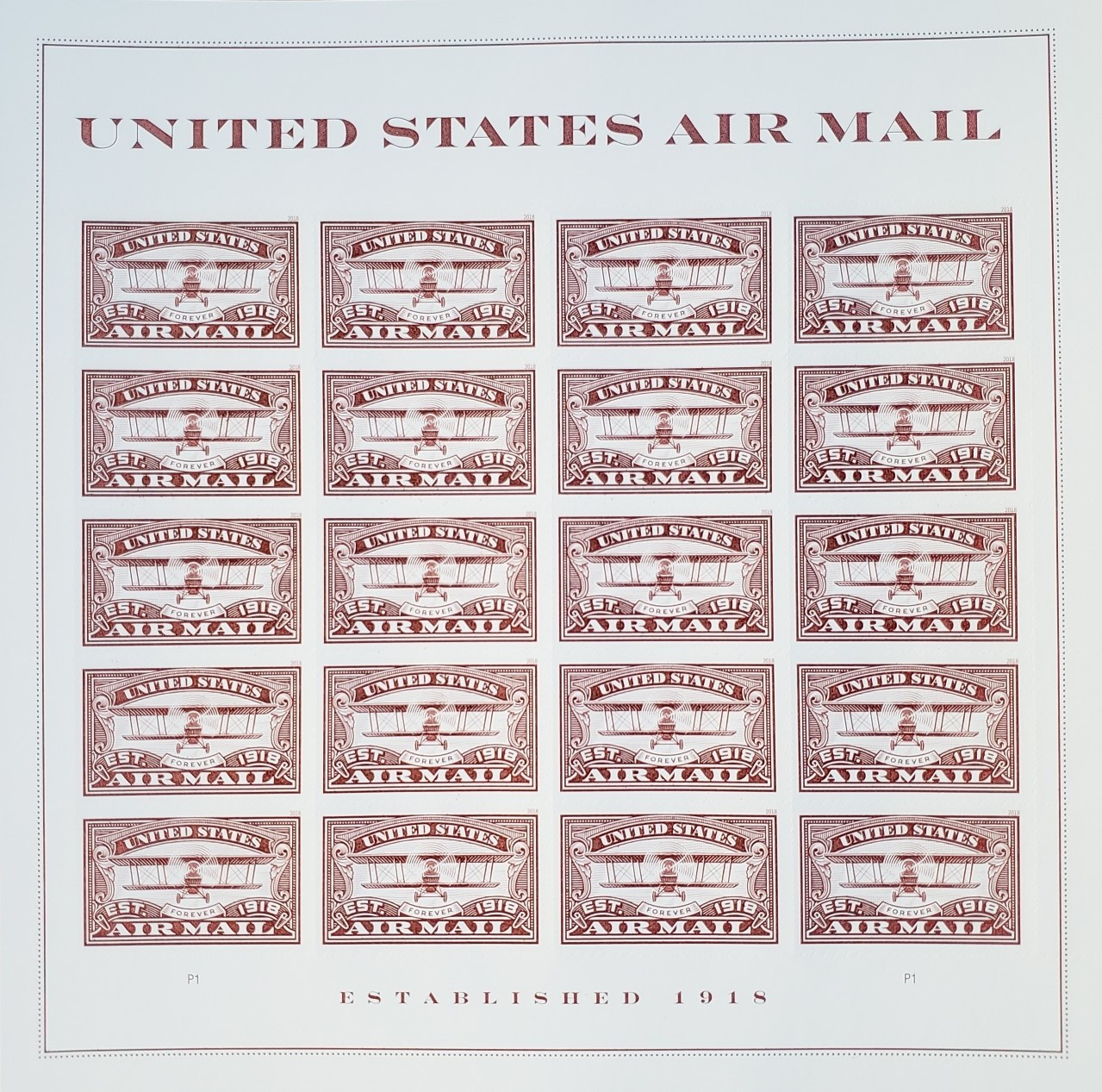 United States AIR MAIL RED - (USPS)  FOREVER STAMPS 20