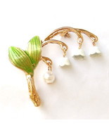Lily of The Valley Green Leaf White Flower Lovely Elegant Enamel Brooch Pin Gift - $8.99