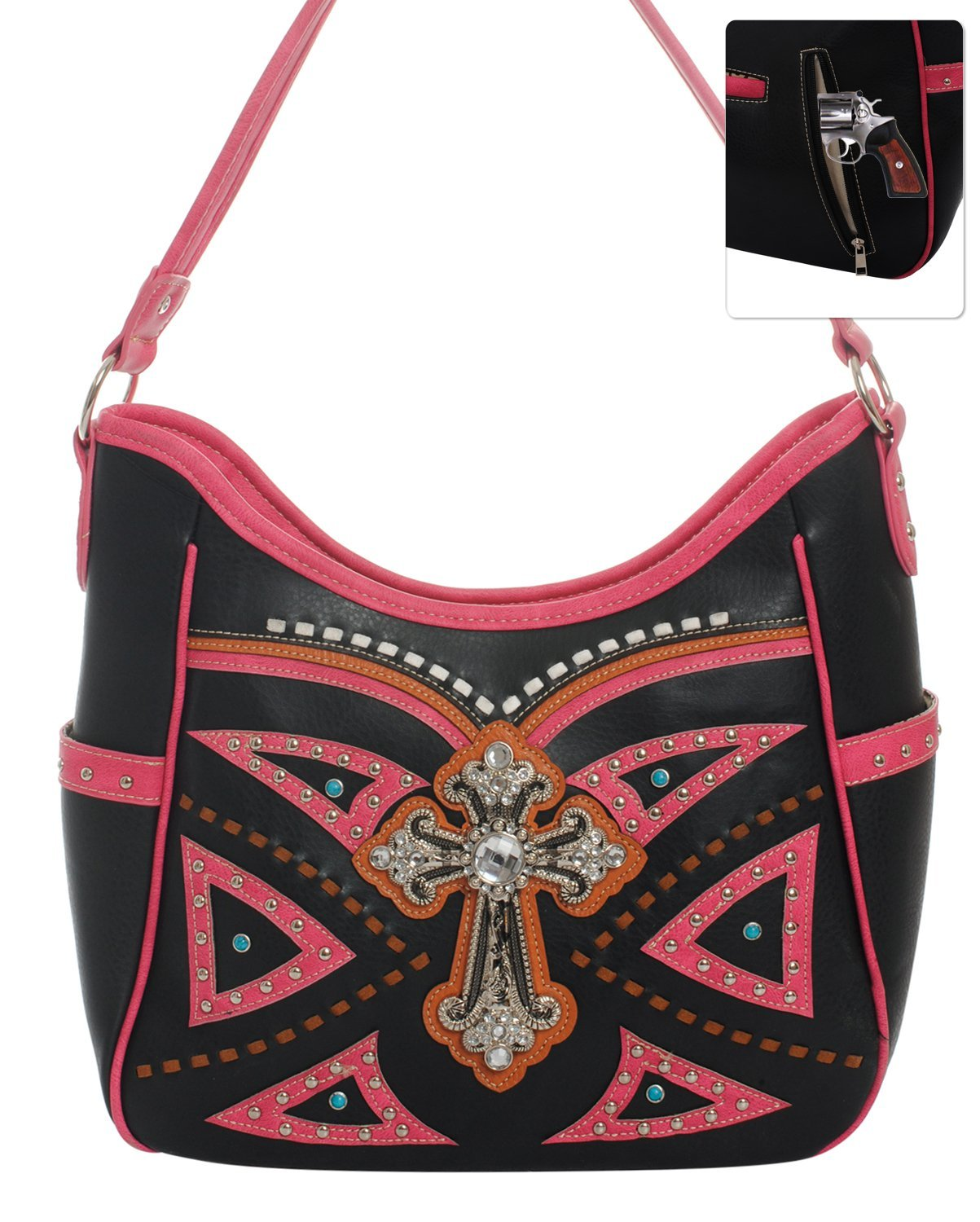 Studded Western Rhinestone Cross Shoulder Handbag Purse (Black Pink)