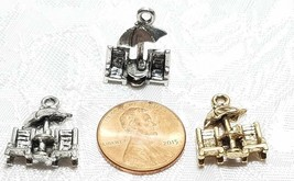 BEACH CHAIRS WITH UMBRELLA FINE PEWTER PENDANT CHARM -  14x19x4mm image 2