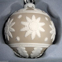 Wedgwood Neo Classical Ball Ornament Taupe Tan/White Relief Porcelain Ja... - $28.90