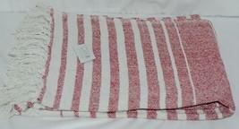 Midwest CBK Brand 147908 Red White Striped Tasseled Throw Blanket image 1