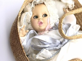 Atlantic Novelties Gerber Christening Baby Doll in Basket 1970's. - $77.18