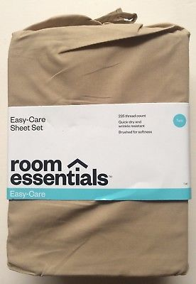 Room Essentials Easy Care Twin Size Sheet Set - Color: Tan - Brand New Sealed