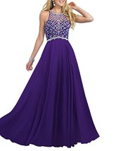 Women's Purple Scoop Beaded Long Chiffon Prom Dresses For 2018 Evening Dresses - $126.88