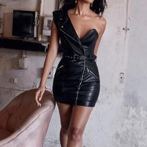Faux Leather One Shoulder Biker Coat Style Black Vinyl Club Dress image 3