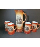 Friar Monk Eating Turkey Tankard Antique 5 piece BEER MUGS Set Trenton P... - $157.41