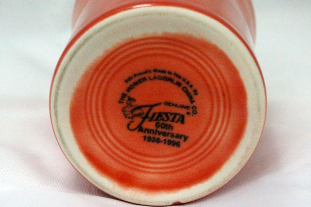 Homer Laughlin 1996 Fiesta Persimmon 6 oz. Tumbler 60th Anniversary 1936-1996 image 3
