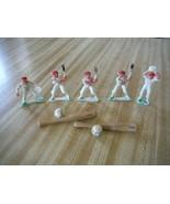7 Items, 5 Baseball Figures plastic white uniforms vintage, 2 bats and b... - $43.41