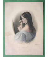 LORD BYRON'S Love Young Julie - Finely Hand Colored H/C Antique Print - $9.45