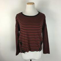 Zara Trafaluc Women's Red Striped Zipper Accent Pullover Shirt Size Medium - $16.19