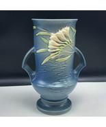 1945 ROSEVILLE POTTERY VASE blue freesia white flowers 123-9 handle mcm ... - $123.75