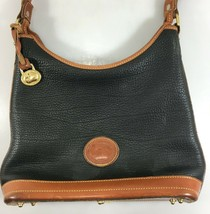 Dooney Bourke Black Pebbled All Weather Leather Shoulder Bag Duck Charm Vintage - $83.30