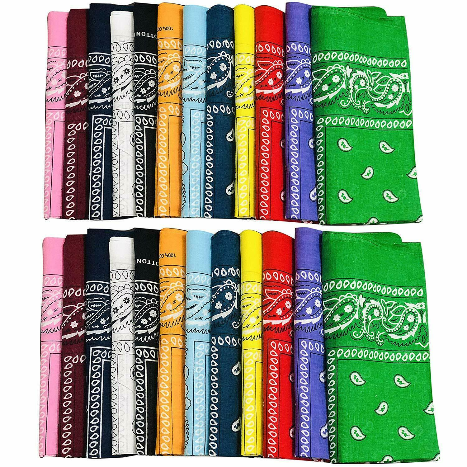 Primary image for 12pcs Bandanas 22 X 22 Inch 100% Cotton Novelty Double Sided Print Paisley