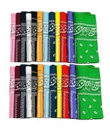 12pcs Bandanas 22 X 22 Inch 100% Cotton Novelty Double Sided Print Paisley - $13.06+