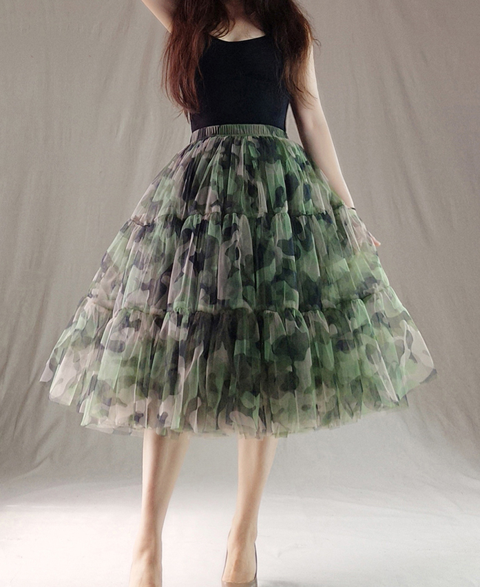 Women Knee Length Puffy Tulle Skirt Army Pattern Layered Tulle Skirt A-line Plus