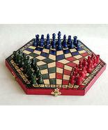 Brand New Three Player Wooden Chess Set. - $63.00