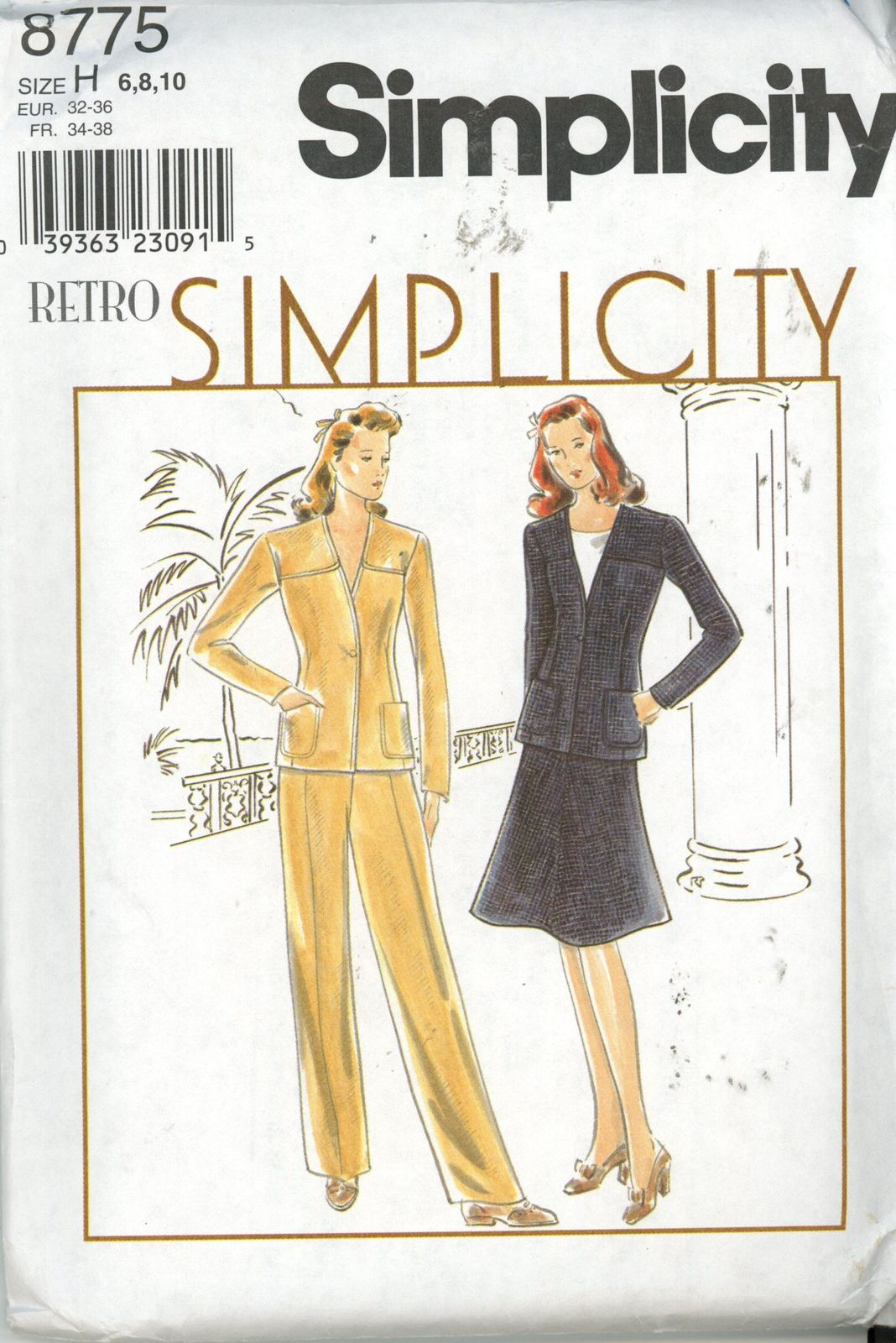 Simplicity 8775 Retro Misses Jacket, Skirt, Pants - Size 6,8,10 UNCUT