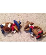 Armadillo Western Chili Pepper Roping Cowboy Christmas Ornaments x2 - $14.99