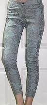 NEW HUE Floral Metallic Super Smooth Denim Skimmer Aqua Sky Leggings XS XSmall - $17.81