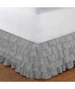 Queen size LIGHT GREY chiffon Multi-Layered Ruffled Bed Skirt in any dro... - $79.99+