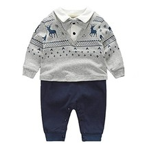 Fairy Baby Newborn Boy's Gentleman Romper Outfit with Bow Tie,9-12M,Grey... - $20.46