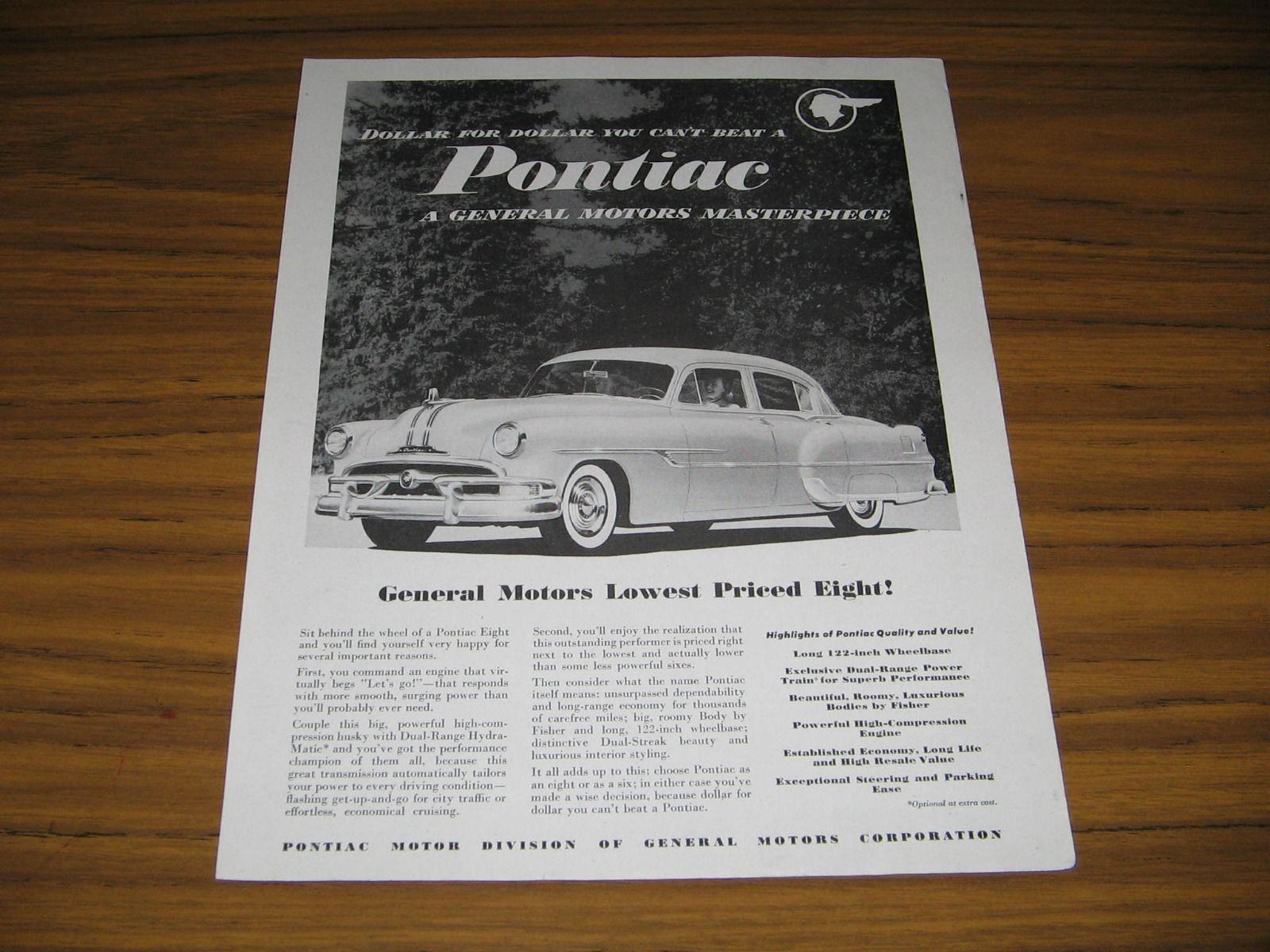 Pontiac Print Ad 1950s 11 Listings 1950 Star Chief 1953 4 Door Car With V 8 General Motors Masterpiece 1415