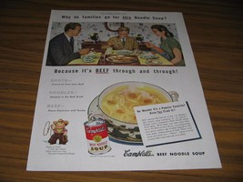 1947 Print Ad Campbell's Beef Noodle Soup Family Enjoys Lunch - $9.68